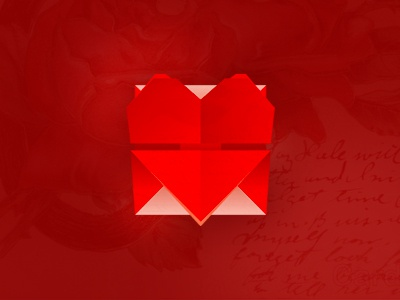 Love Mail: heart + letter icon / logo design symbol