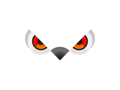 White owl geometric bird logo design symbol by alex tass