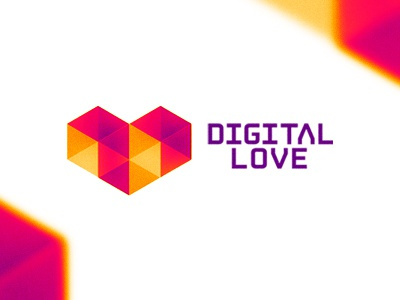 Digital Love logo design symbol logo design logo symmetric low poly polygons geometry abstract geometric heart love digital