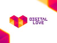 Digital Love logo design symbol logo design logo symmetric low poly polygons geometry abstract geometric heart love digital