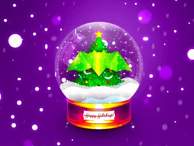 Happy Holidays! snowing globe winter happy holidays bat xmas christmas logo design logo symbol
