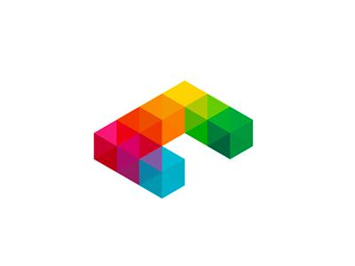 C is for Cubes, logo design symbol letter mark monogram c cubes geometric geometry logo logo design colorful three-dimensional 3d squares symmetrical blocks modular furniture interior design