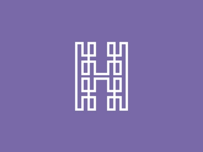 Double H / HH monogram logo design symbol letter mark monogram double h hh monogram logo logo design h line style labyrinth path line art lineart continuous loop line based line craft