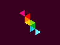 S for Structural, logo design symbol letter mark monogram structural architecture technical colorful logo design logo triangles geometry geometric monogram s