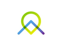 A letter + map pin pointer, logo design symbol