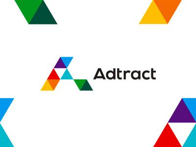 Adtract transformative interactive advertising agency logo design