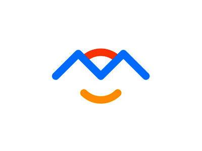 M Mountains Waves Sun Face Smile Logo Design Symbol By Alex
