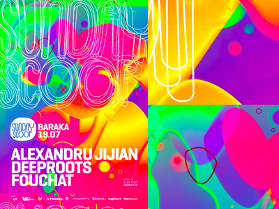Sunday Scoop: electronic music event party flyer poster design fluid colorful abstract flyer design poster design print design design edm electronic dance music clubbing scene party event club venue clubbing promotion