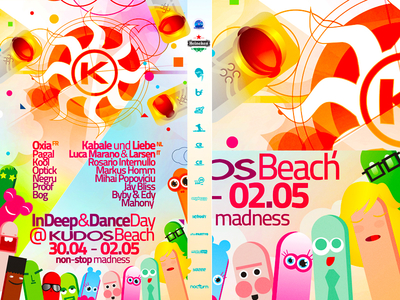 Summer season opening electronic music party flyer poster design sun poster design print design design edm electronic dance music clubbing scene party event beach bar terrace colorful fun illustrations fun funny people astronauts cosmonauts spaceman