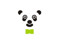 Business panda with bow tie, logo design symbol