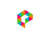 Geometric E letter mark for multimedia project logo design