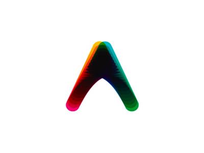 A letter mark, colorful blends, logo design symbol