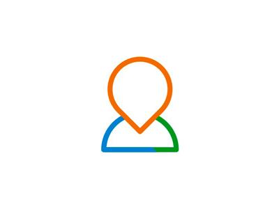 Pin pointer + person silhouette, logo design symbol