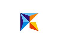 R + i + geometric rocket logo design symbol