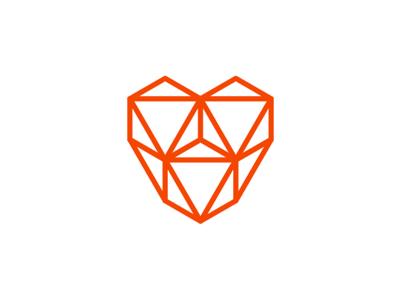geometric triangles facets heart logo design symbol by alex tass