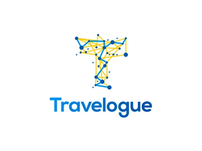Travelogue logo design connections networks network letter mark monogram t gps data coordinates paths directions locations pins maps logs travel travelling traveling dots connections intersections logo logo design travel agency letter mark