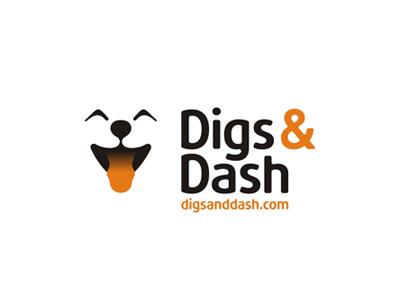 Digs & Dash logo design, cute dog smiling :)