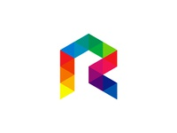 Colorful geometric R letter mark logo design symbol