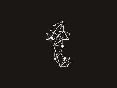 t technic geometric letter mark logo design symbol by