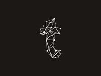 T technic / geometric letter mark / logo design symbol