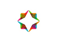 Diamond star in negative space logo design symbol mark icon