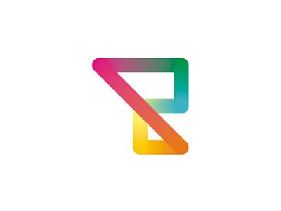 Colorful dynamic R letter mark logo design symbol