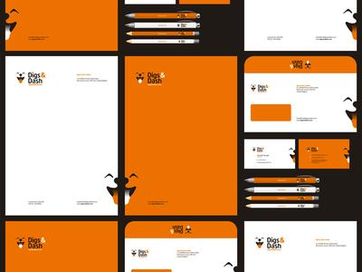 Digs & Dash logo, stationery, identity design