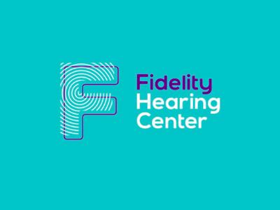 Fidelity hearing center logo design letter mark monogram f health sound waves medical hearing loss hearing aids rehabilitation symbol icon logo design logo letter mark audio hearing center fidelity