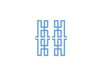 H monogram / letter mark logo design symbol line art work abstract paths labyrinth logo design logo icon symbol hh h double monogram letter mark