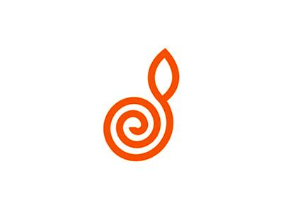 Spiral + D + plant letter mark logo design symbol fruit leaf plant spiral symbol icon logo design logo letter mark d