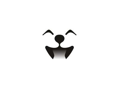 Cute dog smiling happy logo design symbol