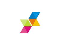 X letter + coding brackets + arrows, logo design symbol