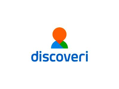 Discoveri logo design: pin + silhouette discover mark icon symbol logo design logo planet earth map location silhouette person human pin pointer