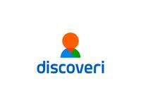 Discoveri logo design: pin + silhouette