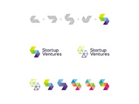 Startup ventures logo design construction and color variations