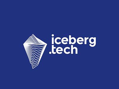 Iceberg.tech logo design mountain software hardware internet ice berg holding digital technology technologies logo design logo blends modern line art start up start-up startup tech company iceberg
