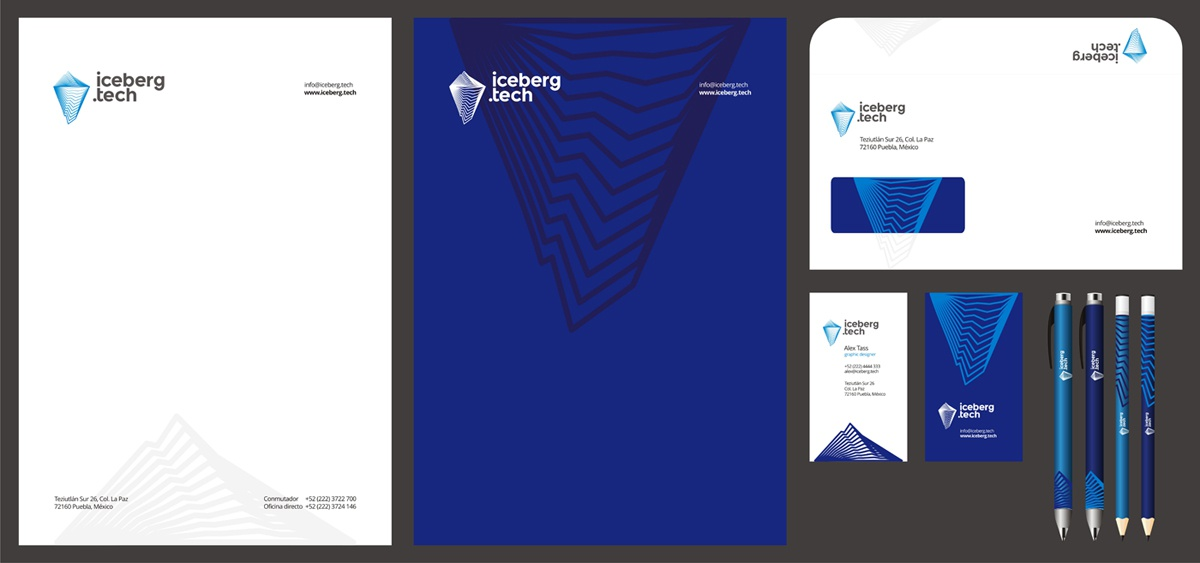 Iceberg tech stationery design by alex tass