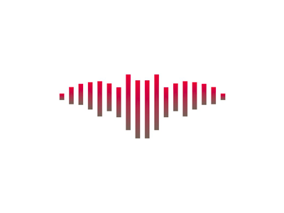 Sound wave + bat, music logo design symbol