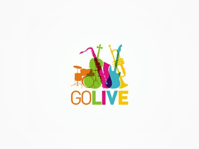 GoLive - musical instruments, stage equipment - logo design go live music instruments rental online shop musical stage sound equipment concert events creative colorful logo design logo design logo designer logotype type typography typographic brand identity branding custom made custom