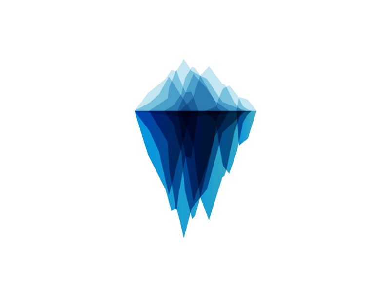 Iceberg logo design symbol trust money financial investment flat 2d geometric fintech hub holding vector icon mark symbol ice mountain iceberg tech company start up start-up startup logo logo design software hardware internet digital technology technologies