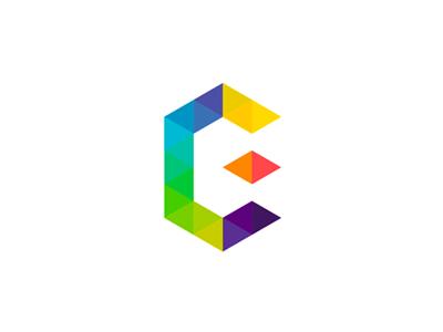 EC geometric monogram, logo design symbol
