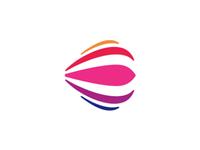 E for events, hot air balloon, smile, logo design symbol