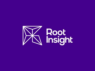 R + i + geometric rocket, Root Insight logo design letter mark monogram r symbol icon mark triangles geometric rocket logo logo design crm stats data analytics saas business operations charts
