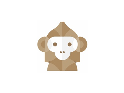 Monkey: abstract, geometric logo design symbol classes courses online elearning learning machine primate ape monkey artificial intelligence ai machine learning technical platform fun intelligent creature modern tech technological wild animals flat 2d geometric vector icon mark symbol logo design logo