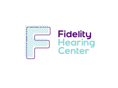 Fidelity hearing center logo design fidelity hearing center audio letter mark logo logo design symbol icon hearing aids rehabilitation hearing loss medical sound waves health