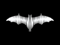 Sound wave bat, music logo design symbol