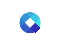 Q letter mark: circle + squares / logo design symbol
