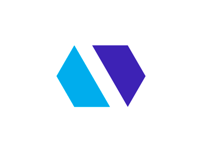 Minimalist abstract av monogram negative space logo design by alex tass