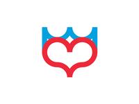 Heart + crown, premium dating website logo design symbol
