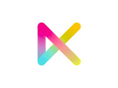 K, colorful letter mark / logo design symbol letter mark monogram k play media blend gradients play flat 2d geometric vector icon mark symbol logo design logo colorful visual loop eye candy